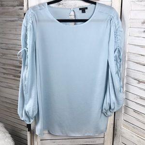 ANN TAYLOR | Blue Tie Sleeve Blouse